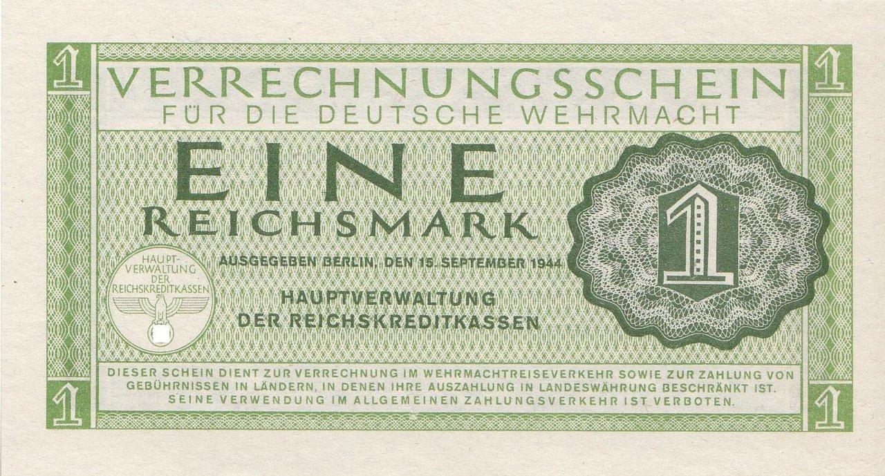 1 reichsmark deutsche wehrmacht 15 511 coins of germany. Black Bedroom Furniture Sets. Home Design Ideas