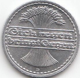 50 Pfennig Deutsches Reich 1919 1922 Coins Of Germany