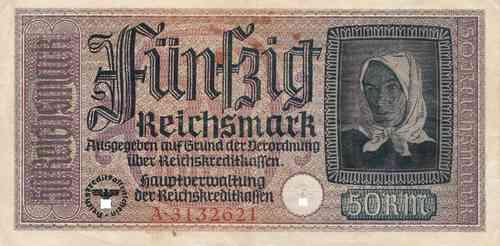 50 Reichsmark Deutsches Reich 1939 1944 555a Coins Of Germany
