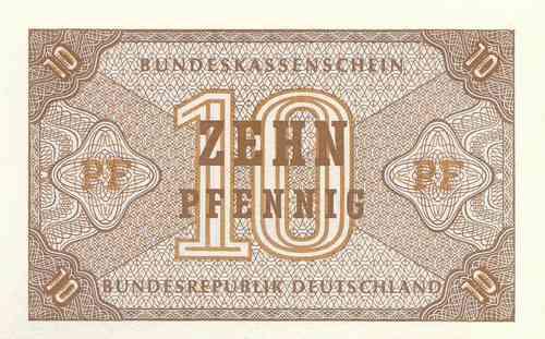 GERMANY FEDERAL REPUBLIC 10 PFENNIG 1967 P 26 UNC