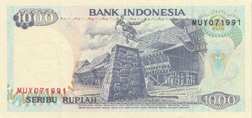 1000 Rupiah Indonesia 1992 1994 129c